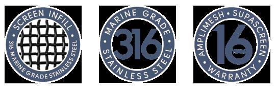 Amplimesh® SupaScreen® security screen doors and windows - 316 marine grade stainless steel, 16 years warranty