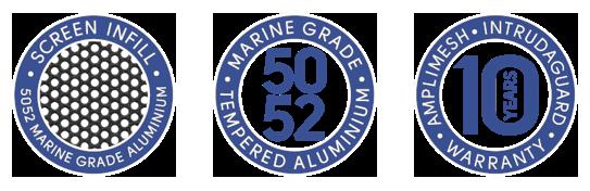 Intrudaguard@ security screen doors and windows - screen infill,5052 marine grade aluminium, 10 years warranty